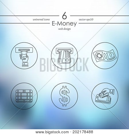 e-money modern icons for mobile interface on blurred background