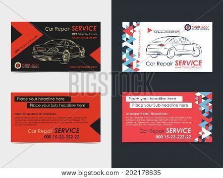 Set of Automotive Service business cards layout templates. Create your own business cards. Mockup Vector illustration.