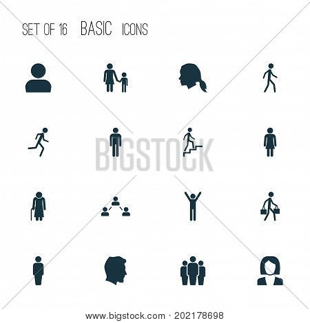 Person Icons Set. Collection Of Male, Gentlewoman Head, User And Other Elements