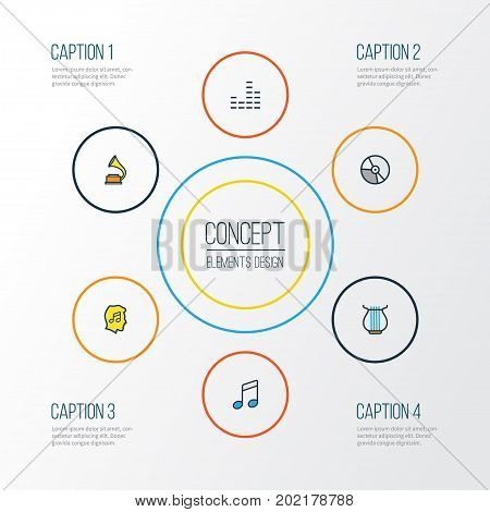Multimedia Colorful Outline Icons Set. Collection Of Harp, Circle, Gramophone And Other Elements