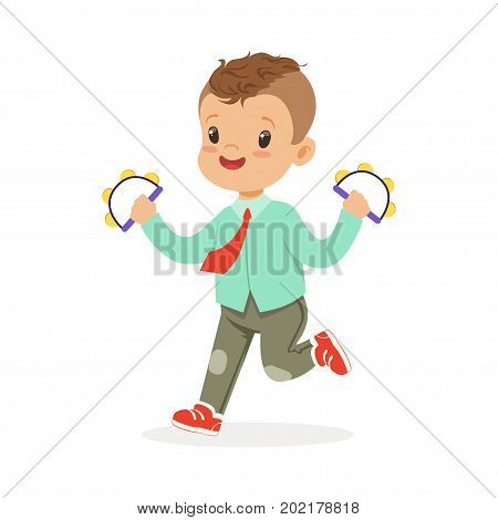Cute little boy playing handbell tambourine, young musician with toy musical instrument, musical education for kids cartoon vector Illustration on a white background