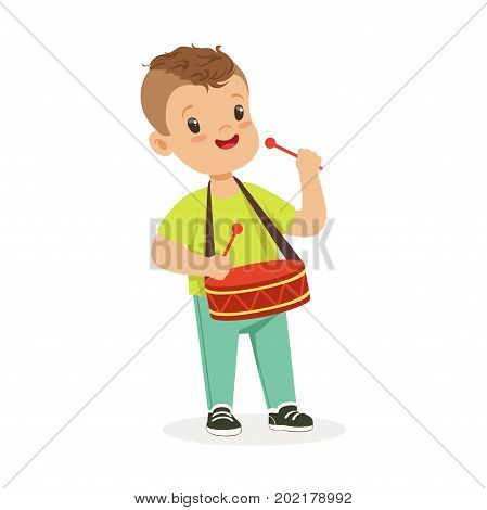 Cute little boy playing drum, young musician with toy musical instrument, musical education for kids cartoon vector Illustration on a white background