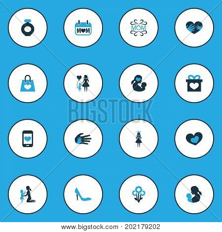 Mothers Day Colorful Icon Design Concept. Set Of 16 Such Elements As Newborn Baby, Blossom And Design