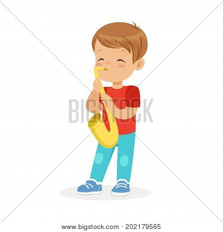 Cute little boy playing trumpet, young musician with toy musical instrument, musical education for kids cartoon vector Illustration on a white background