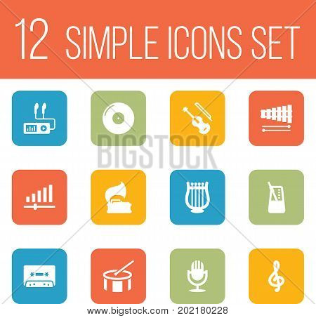 Collection Of Percussion, Turntable, Audio Device And Other Elements.  Set Of 12 Melody Icons Set.