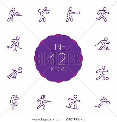 Collection Of Gymnastic, Soccer, Puck And Other Elements.  Set Of 12 Fitness Outline Icons Set.