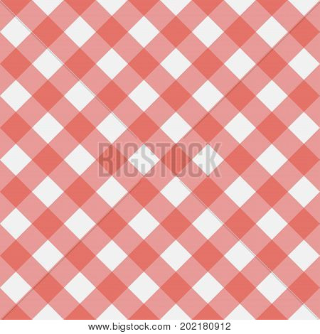 Red Gingham seamless pattern. Texture from rhombus/squares for - plaid tablecloths clothes shirts dresses paper bedding blankets quilts and other textile products. Vector illustration.