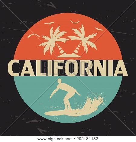 California. USA. Typography for the design of clothing t-shirts. Gulls sun palm wave surfer on a surfboard. A circle. Graphics for printed materials. Vector illustration.