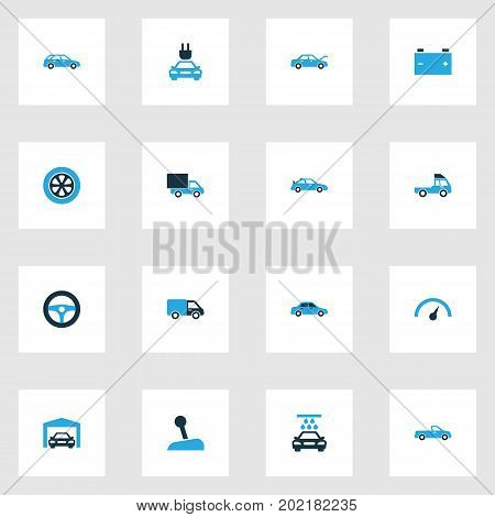 Automobile Colorful Icons Set. Collection Of Gear Lever, Sedan, Sports Automobile And Other Elements