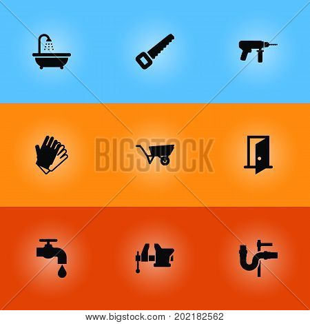 Collection Of Faucet, Gauntlet, Electric Screwdriver And Other Elements.  Set Of 9 Construction Icons Set.