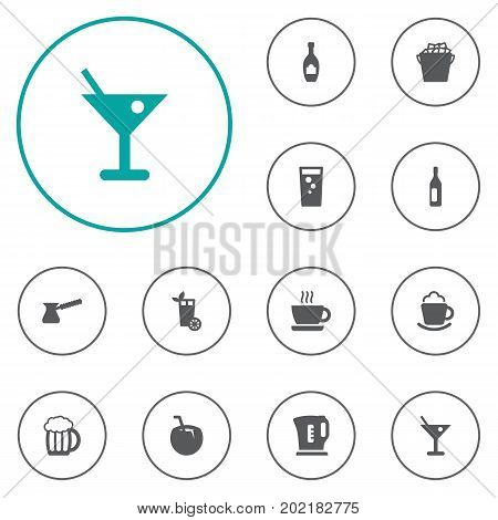 Collection Of Wine, Fridge, Cup And Other Elements.  Set Of 12 Beverages Icons Set.