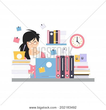 Busy young businesswoman character sitting at the computer desk with laptop, working moment of office employee vector Illustration on a white background