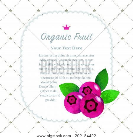 Colorful Watercolor Texture Nature Organic Fruit Memo Frame Cranberry