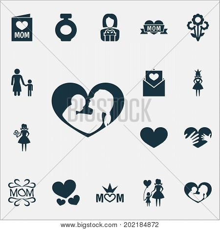 Mothers Day Icon Design Concept. Set Of 16 Such Elements As Fragrance, Flowers And Madame