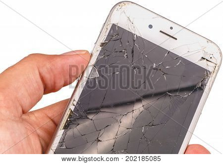 Paris FRANCE - August 26 2017: Isolated close up of an iphone 6S of the mark Apple Inc. whose screen is broken as a result of a violent fall