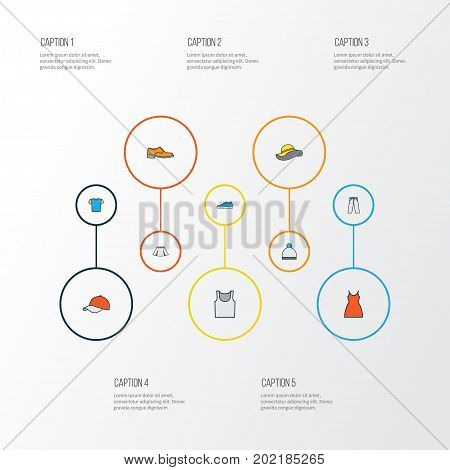 Dress Colorful Outline Icons Set. Collection Of Sneakers, Man Footwear, Beanie And Other Elements