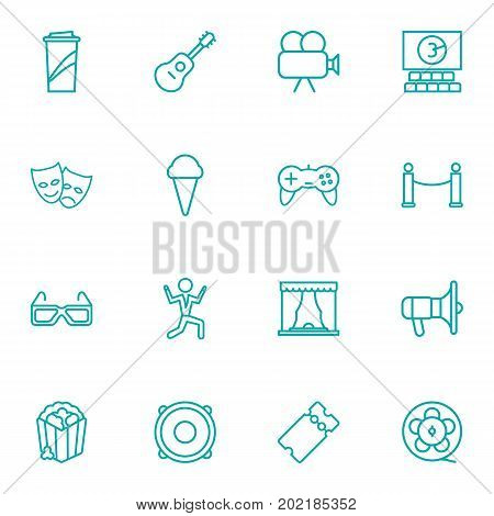 Collection Of Popcorn, Cinema, 3D Glasses And Other Elements.  Set Of 16 Pleasure Outline Icons Set.