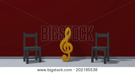 clef symbol and chairs - 3d rendering
