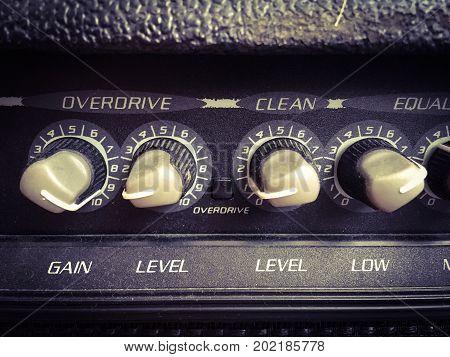 Close up photo of Guitar amp .
