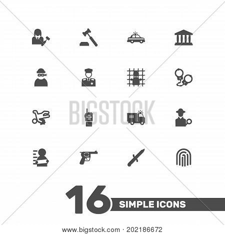 Collection Of Manacles, Revolver, Judge Gavel And Other Elements.  Set Of 16 Crime Icons Set.