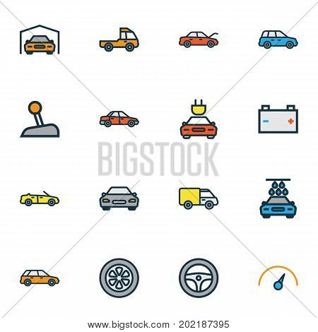 Automobile Colorful Outline Icons Set. Collection Of Shed, Rudder, Automobile And Other Elements