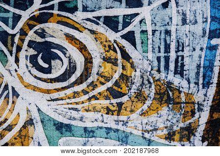 Whirl, Hot Batik, Background Texture, Handmade On Silk, Abstract Surrealism Art