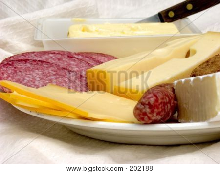 Breakfast, Fresh Bread, Cheese And Meat.