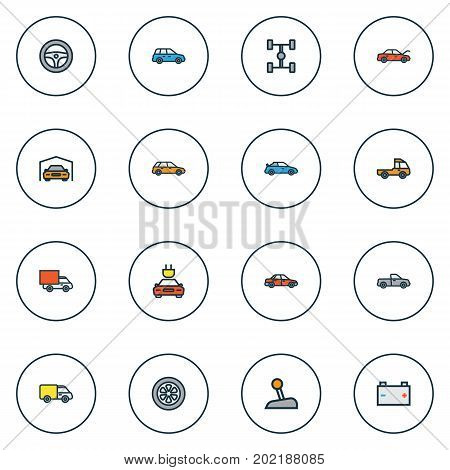 Auto Colorful Outline Icons Set. Collection Of Shed, Bonnet, Drive And Other Elements