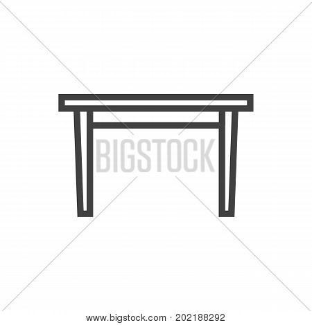 Isolated Dining Desk Outline Symbol On Clean Background