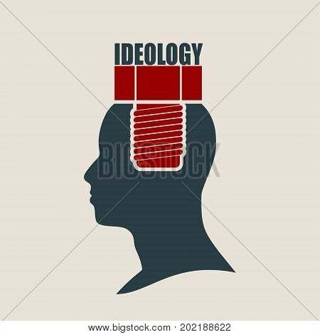 Screw in the head of a person. Mental health relative vector brochure or report design template. Ideology word