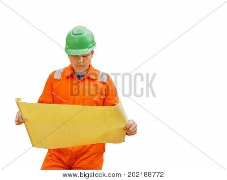 Thai construction site worker wearing high visibility safety jacket standing and watching paper isolated on white background