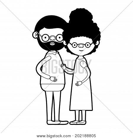caricature full body elderly couple with glasses bearded grandfather with grandmother with curly side bun hairstyle in dress in black silhouette sections vector illustration