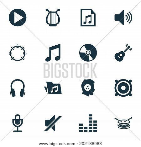 Audio Icons Set. Collection Of Music, Timbrel, Earphone And Other Elements
