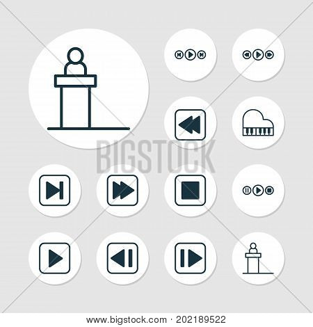 Multimedia Icons Set. Collection Of Following Song, Stop Button, Song UI And Other Elements