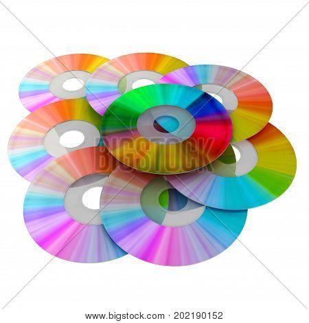 CD set. Rainbow colors discs 3d rendering