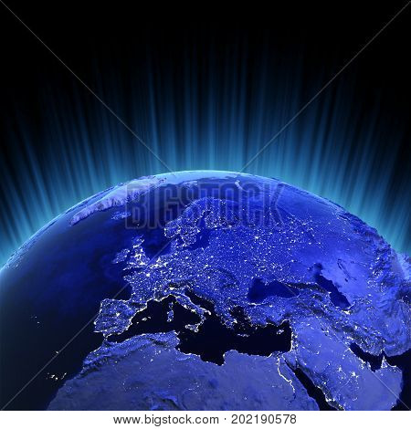 Europe volume 3d rendering. Maps from NASA imagery