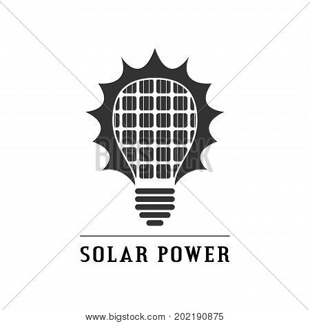 picture of black and white sillhouette icon of light bulb with solar panels inside, renewable solar energy concept logo
