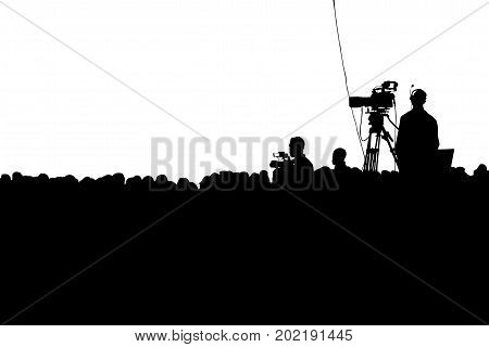 Television Press Conference production cameraman and crowd silhouette. Clipping path