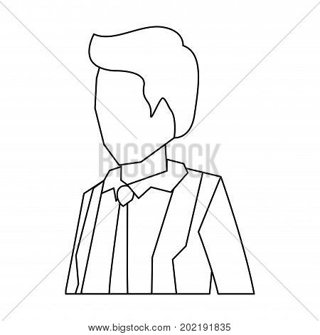 businessman faceless in suit and half body sketch silhouette in white background vector illustration