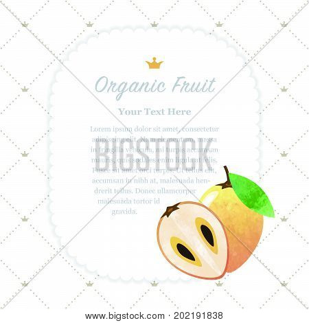 Colorful Watercolor Texture Nature Organic Fruit Memo Frame Sapodilla Chiku