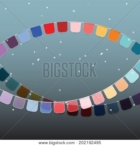 Background of colored celebration flags and confetti stock vector