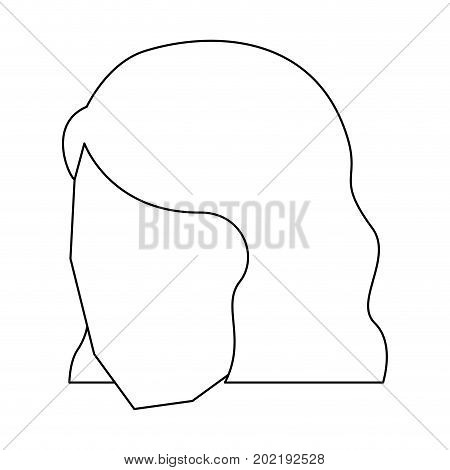 woman head faceless with short hairstyle sketch silhouette in white background vector illustration