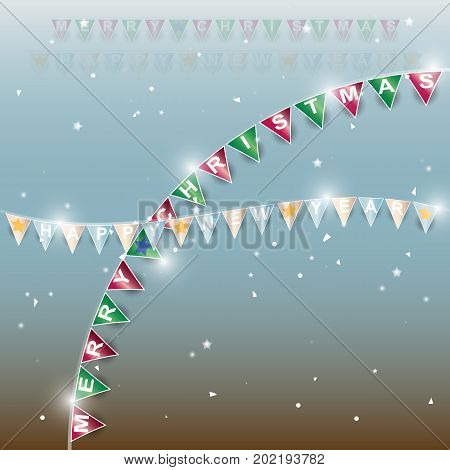 Background of new year flags with star and confetti stock vector