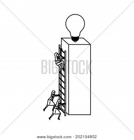 businesswomen climbing wooden stairs in a big rectangular block with light bulb in the top sketch silhouette in white background vector illustration