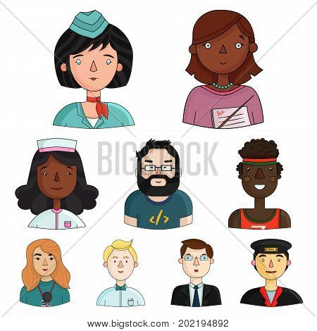 People of different profession set icons in cartoon design. Big collection of people of different profession vector symbol stock illustration