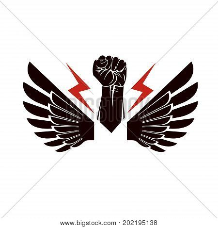 Vector illustration composed using strong muscular raised clenched fist made with lightning symbol. Power and authority concept.