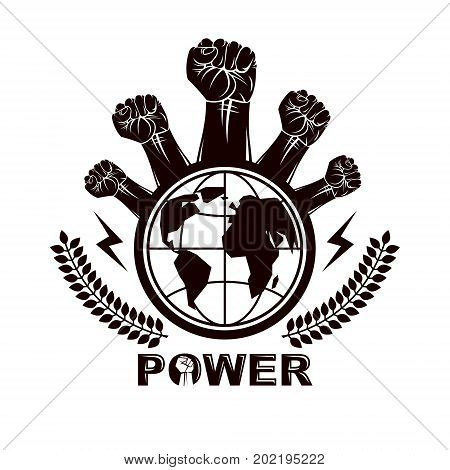 Marketing leaflet composed with raised clenched fists of revolutionary people and globe vector illustration. No limits and restrictions nonconformist concept.