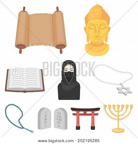 Religion set icons in cartoon style. Big collection of religion vector symbol stock