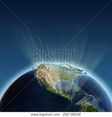 North America lights. Earth map from NASA 3d rendering