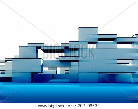 Constructivism and minimalism style, 3d rendered building